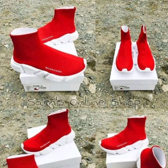 Balenciaga Red Sock Ankle Sneakers
